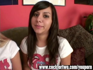 Two gorgeous teens share one lucky cock