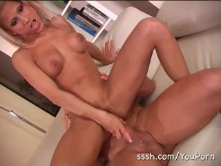 Hot sex on the sofa for gorgeous blonde with great tits