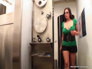 Amazing busty babe sucks monster cock
