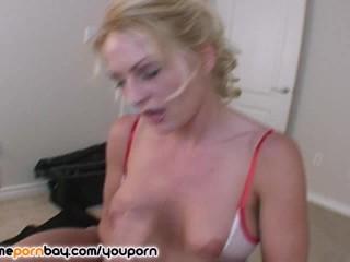 Cute amateur blonde MILF jerking dick 5
