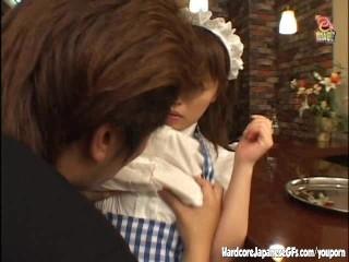Horny Japanese maid getting slammed
