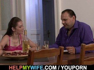 Husband watching pizza guy fucks his sultry wife