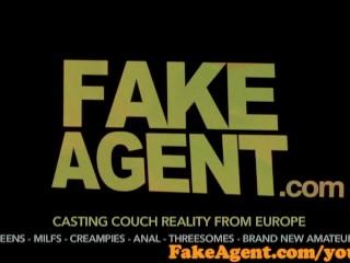 FakeAgent Cute blonde amateur milks cock dry in casting