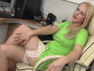 Aston Wilde huge nipples and hairy pussy in the office!