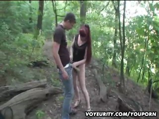 Mature amateur wife outdoor hardcore action with 2 guys