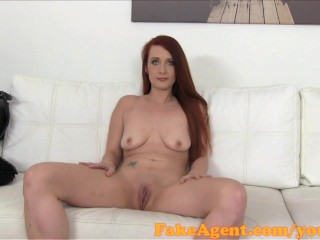 FakeAgent Erotic redhead sexy acquires spunk shower in Casting interview