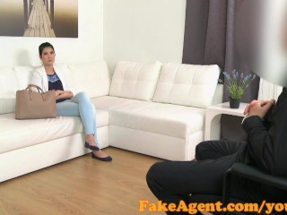 FakeAgent Cute petite 18 year old fucked hard in Office