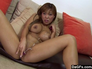 Busty asian bending over for a big black cock