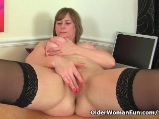 British old woman April enjoys to be your Mischievous secretary