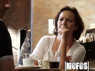 Mofos - Young couple fuck in café in public