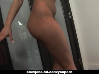 Brunette hot and busty stunner jerking off the fat dick