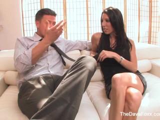 Sexy brunette Dava Foxx gets rewarded with a creampie