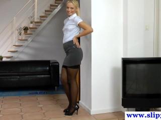 Posing european amateur jerking off old cock