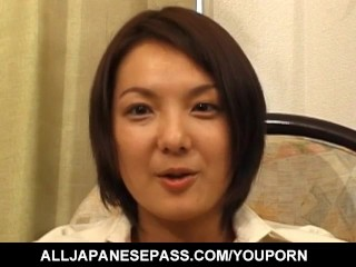 Saori Iwaki with big cans has hairy crack pouring cum after fuck
