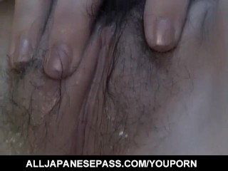 Midori Asuka gets vibrators and cocks in mouth before frigging