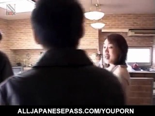 Yuki Mori gets a lot of cum in mouth from sucking two joysticks