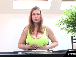 Huge Natural Tits Terry In Morning Play With Her Toys