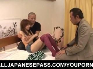 Miina Yoshihara licks cocks and gets them between legs in socks