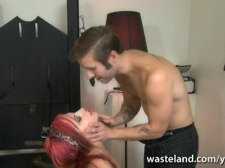Redhead gets her hands bound and face fucked as she sucks cock deep