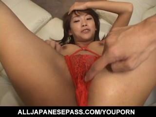 Sakura Sakurada is fucked with vibrators through crotchless panty