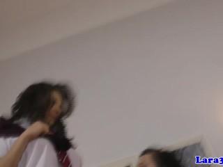 Mature lesbian licking out schoolgirl beauty