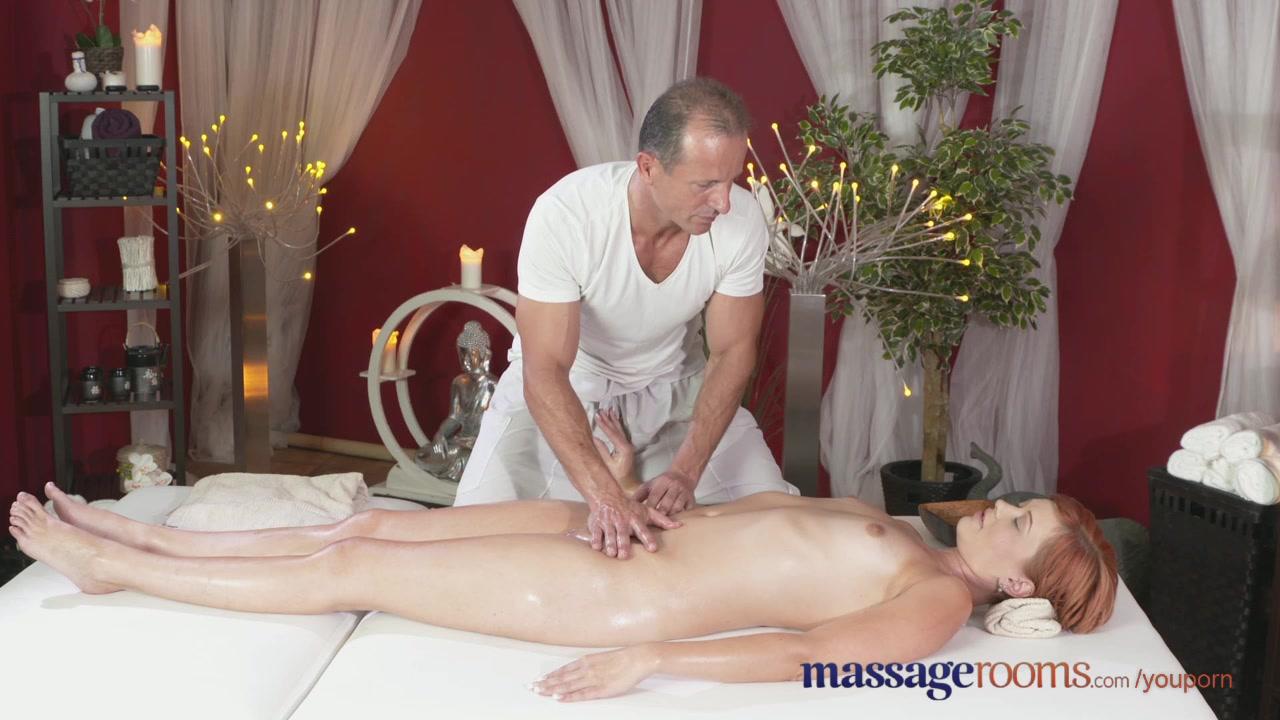Leggy redhead massage