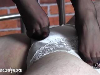 Hot Milf gives silky nylon foot wank as slave cums on mistresses sexy feet