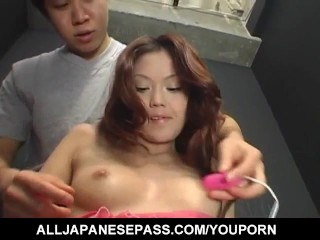 Kaoru Mugi is fucked with vibrator and cock under pink lingerie