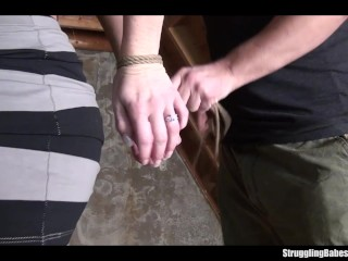 Ally bound ballgagged stripped vibed machine-fucked whipped