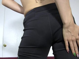 She strips down then lubes up her asshole and slides a plug in and out