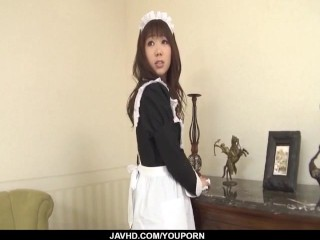 Aiuchi Shiori Japan maid, sucks her horny master
