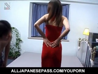 Kaori Hojo in sexy outfit gets strong cocks in mouth and in pussy