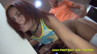 Asian Street Meat XXX  Silver Leggings Give Good Asian Service