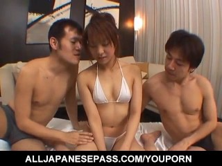 Ayumi Haruna has hairy snatch and mouth fucked same time by guys