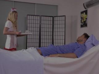 Cute nurse sucks piss off hard cock