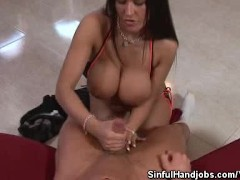 Picture Busty Babe Works Her Magic Hands