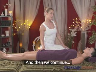 Massage Rooms Stunning blonde lesbian has big orgasm from brunette hottie