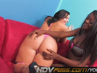 Ebony And White Chick Licking Each Other