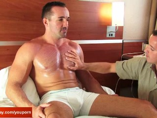 The gym guy gets sucked by the room service guy !