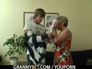 Oldie gets nailed by an young guy