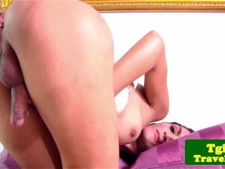 Thai ladyboy enjoys teasing with alone analplay