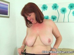 Picture British milf Janey strips off and plays with...