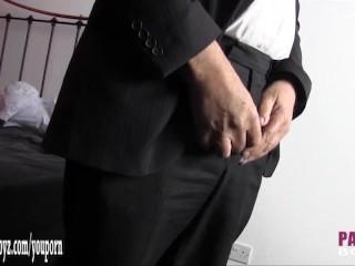 Kinky sissy takes off suit to masturbate big cock in sexy nylon panties