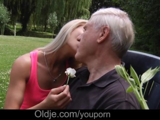 Hot blonde babe and old man pleasing eachoter in 69