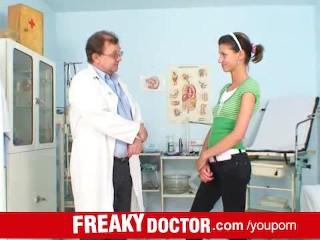 Skinny brunette Amanda Vamp hairy cunt check-up at gyno