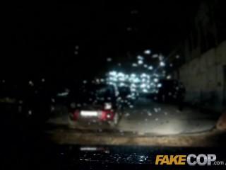 Fake Cop Ebony stripper rides the policemans helmet