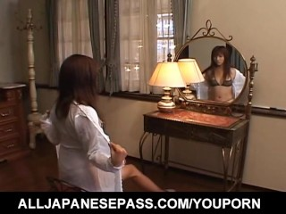 Itsuka in sexy lingerie arouses and fucks pussy with vibrator