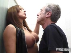 Picture Mistress Carly fucks in dirty toilet and mak...