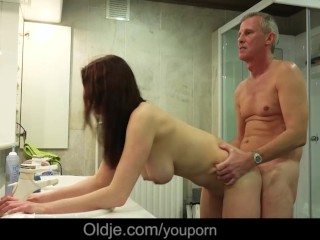 Horny girl with big tits seduces and fucks old men