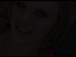 Pregnant Kristi fingering her pink moist pussy